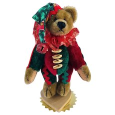"LE Little Gem Teddy Bear Miniature, ""Christmas Jester"" 695 / 1000 by Artist Lisa Lloyd"