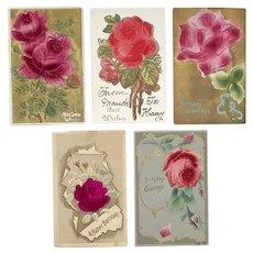 German Heavily Embossed Felt Roses Floral Postcard Lot