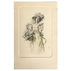 1900 M.M. Vienne Lovely Lady with a Basket of Flowers Postcard