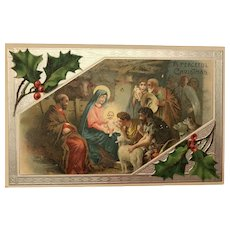 1907 Religious Nativity Scene with Silver Embossed Edging Christmas Postcard