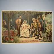 1909 Religious Embossed Nativity Scene with Farm Animals Christmas Postcard