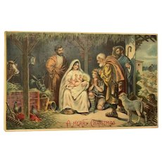 1909 Religious Embossed Nativity Scene with Farm Animals Christmas Postcard