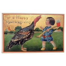 Boy with Ax Confronting Turkey - Thanksgiving Gold Embossed German Postcard