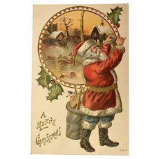 1909 Santa with Red Coat and Blue Pants, Hanging Ornament with Background Scene