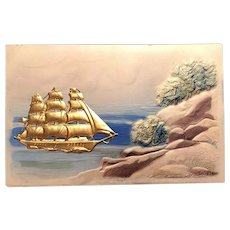 'Gold' Ship Embellishment Near Rocky Shores Embossed German Postcard