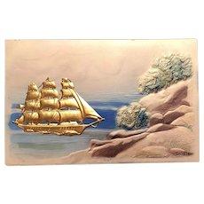 'Gold' Ship Embellishment Near Rocky Shores Embossed German Postcard