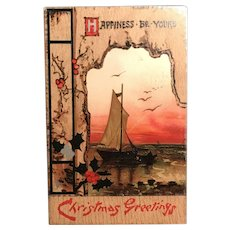"1910 Bavaria TUCK ""Wintry Wonderland"" Christmas Sailboat Postcard"