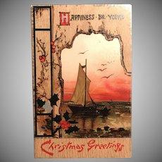 "1910 Bavaria TUCK ""Wintry Wonderland"" Christmas Sailboat Postcard"