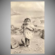 """1905 TUCK """"Our Darlings"""" Silverette Little Fisher Girl Real Photo Postcard"""