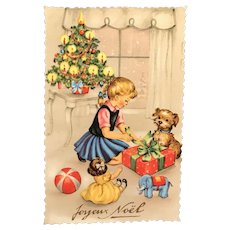 "1960 ""Joyeux Noël"" Photochrom Glacée French Postcard of Girl and Dog with Presents"