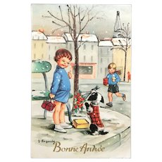 "1960 ""Bonne Année"" signed Lagarde French Postcard with Children and a Dog Holding Flowers"