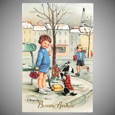 """1960 """"Bonne Année"""" signed Lagarde French Postcard with Children and a Dog Holding Flowers"""