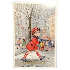 """1960 """"Gelukkig Nieuwjaar"""" Belgium Postcard Little Girl Crossing Street"""