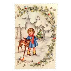 """c 1960's French """"Bonne Année"""" Girl with Deer in Woods Postcard"""