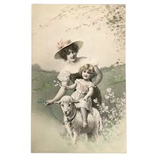 R.R.Wichera signed Vienne Postcard – Glamour Lady with Little Girl on Sheep in Field