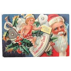 "c.1900 Sweetheart Series No. 1 ""Sweetheart Days"" Santa ""Sampler"" Postcard"