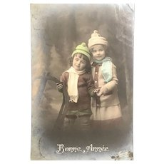 "1913 Belgium Tinted Real Photo Postcard – Two Lovely Little Girls - ""Bonne Année"""