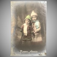 """1913 Belgium Tinted Real Photo Postcard – Two Lovely Little Girls - """"Bonne Année"""""""
