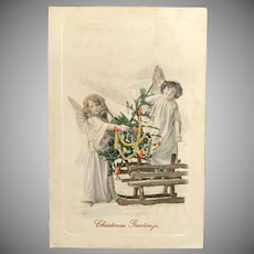 1911 German Christmas Postcard of Two Angel Girls with Decorated Tree and Sled