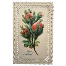 c. 1900 Die Cut Edging Embossed Holiday Floral Postcard