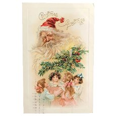 1910 Joyful Santa Looking Down on Four Little Girls Embossed Postcard