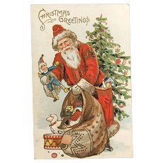 c. 1900 Santa with Bag of Toys Embossed Postcard with Gold Accents