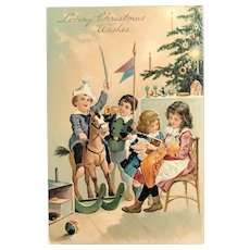 c. 1900 European Embossed Postcard - Children Playing with Christmas Toys