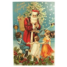 c. 1900 Three Dancing Children Greeting Santa Delivering Gifts Postcard