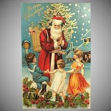 c. 1900 Three Dancing Children Greeting Santa Delivering Gifts Postcard