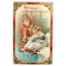 1910 TUCK'S Santa in Pink Robe, Watching Little Girls with Toys Postcard – The Santa Claus Series