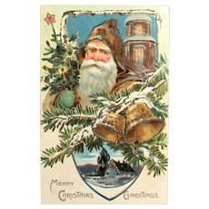 "c. 1900 TUCK'S Brown Robe Santa - ""Christmas Post Card"" Series 102 - Church and Bells Postcard"