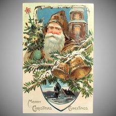 "c. 1900 TUCK'S Brown Robe Santa - ""Christmas Post Card"" Series 102 - Church and Bells Postcard"