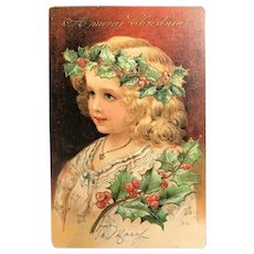 c. 1900 German Embossed with Gold Accents Postcard -  Lovely Christmas Girl