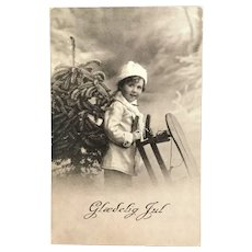 "c. 1900 Real Photo Postcard – Young Child with Sled - ""Glædelig Jul"""