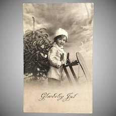 """c. 1900 Real Photo Postcard – Young Child with Sled - """"Glædelig Jul"""""""