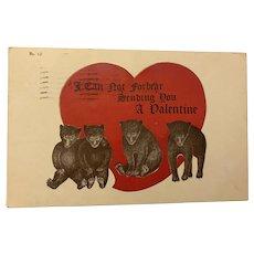 "1908 ""I Can Not Forbear …"" Valentine Bear Postcard"