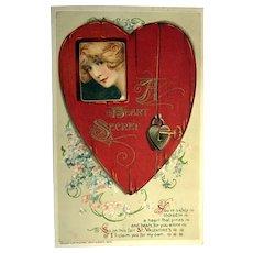 """1913 Winsch """"A Heart Secret"""" Valentine Postcard"""