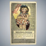 "c.1900 Advertisement ""Partner Wanted"" Valentine Postcard"