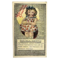 "c.1900 Advertisement ""Partner Wanted"" Valentine Postcard"