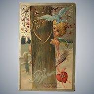 c. 1900 Valentine Series No 1 Cupid Carving Name in Tree Valentine Postcard