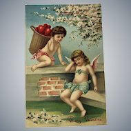 c. 1900 German Boy and Girl Cupids in Park - Valentine Postcard