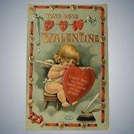 1910 Little Cupid Girl Writing Valentine Message Valentine Postcard