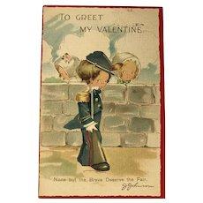 "c.1900 ""None but the Brave Deserve the Fair"" J.Johnson Soldier Boy Valentine Postcard"