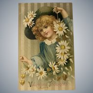 c.1900 Blonde Girl with Green Hat and String of Daisies Valentine Postcard