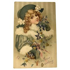 1914 Blonde Girl with Green Hat and String of Forget-Me-Nots Valentine Postcard