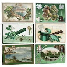 Lot of Six Vintage Circa early 1900's St. Patrick's Day Postcards