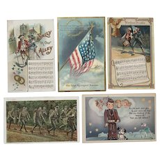 Lot of Five Vintage Circa early 1900's Patriotic/Songs/Military Postcards