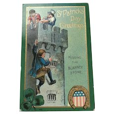 "1909 ""Kissing the Blarney Stone"" St. Patrick's Day Postcard"