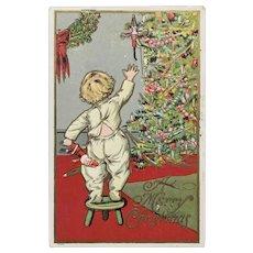 1908 Julius Bien Child in PJ's Reaching for Toys on Christmas Tree Postcard
