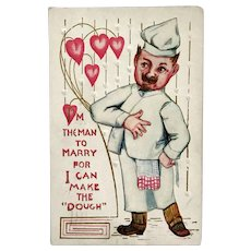 "1912 Vintage ""I Can Make the Dough"" Baker Valentine's Day Postcard"